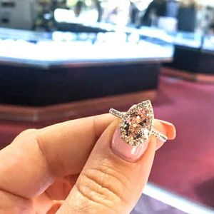 Pink Morganite Teardrop Halo 18K Rose Gold Ring